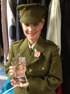 Lorrie Brown collects her award for UK No.1 Vera Lynn tribute